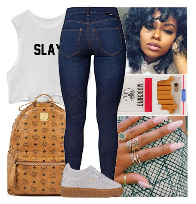 """""""Law ~ Yo Gotti """" by naebreezy ❤ liked on Polyvore featuring MCM, Moschino, Dr. Denim and Puma"""