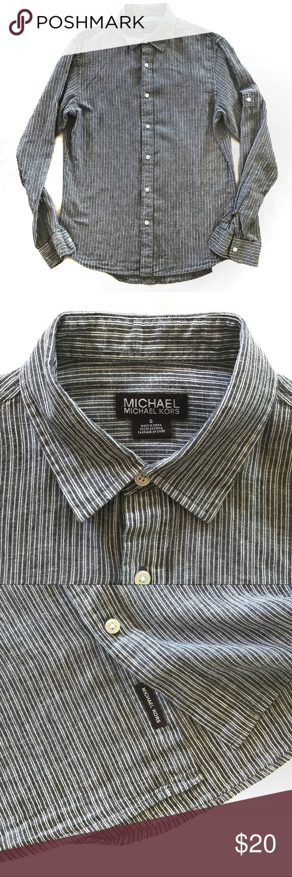Michael Kors Gray Button Down Men's Shirt A gray striped Michael Kors button down shirt.  Gently used and in excellent condition with no signs of wear. Michael Kors Shirts Casual Button Down Shirts