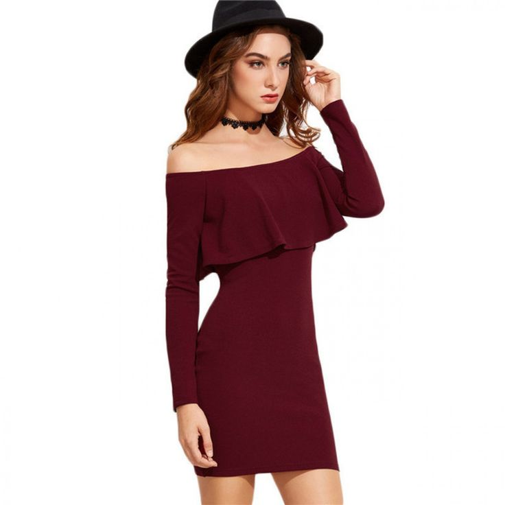Autumn Women's Dress Bodycon Burgundy Off The Shoulder Ruffle Sexy Mini Party Dresses Long Sleeve Fall Dress