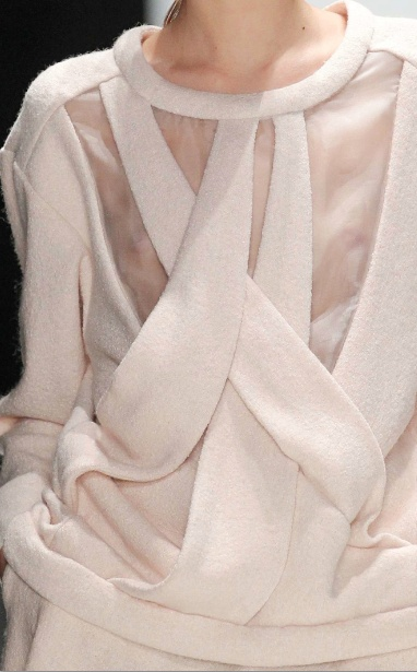 Fashion construction detail with soft overlapping structures & sheer panel; close up fashion // Ulyanova Alexandra