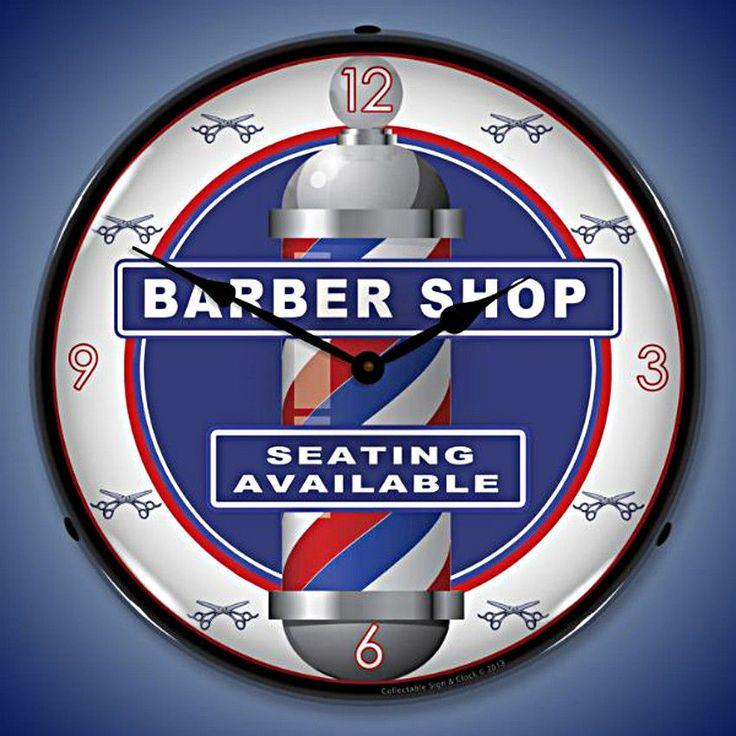 Unique Clock Works - Barber Shop, Vintage Advertising Wall Clock, $124.95 (http://uniqueclockworks.com/backlit-clocks/advertising/barber-shop-vintage-advertising-wall-clock/)