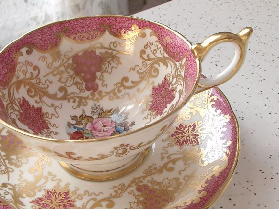 antique pink tea cup and saucer set, vintage Aynsley bone china tea cup, Bailey signed, English tea set, pink gold tea cup,