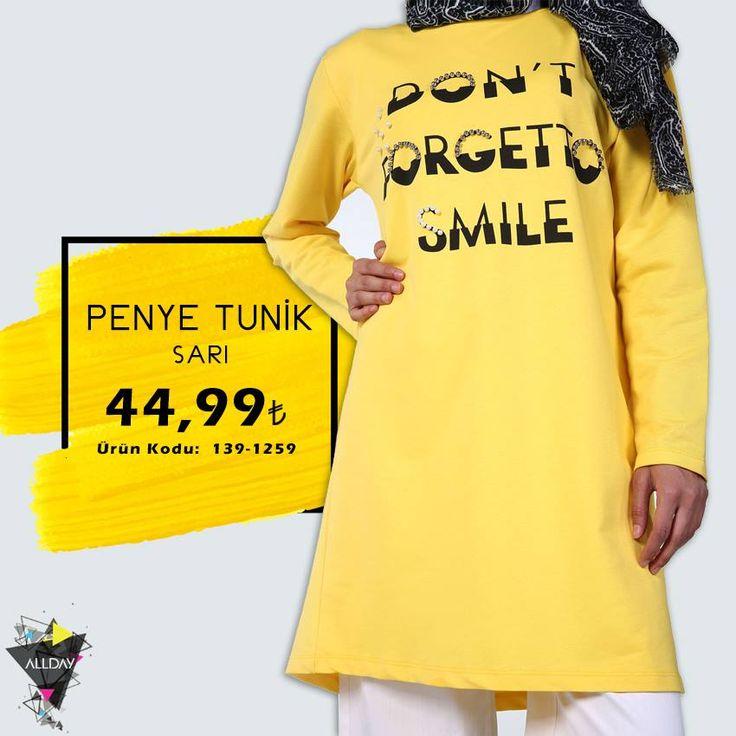 #Mavi, #sarı, #siyah ve #pembe… #Yazı #baskılı tuniğin dilediğin rengini seç...😊