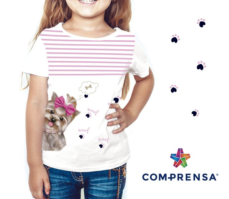 T-shirt with a print to the front for children's ready-to-wear clothing  #comprensa #model #fashion #manufacturer #design #company #textile #portugal #jersey #fleece #cotton #bio #sublimation #screenprinting #digitalprint #laser #photoprint