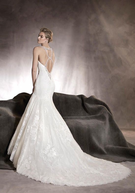 Amazing Alexia Wedding dress in tulle and lace and gemstone embroidery at the back