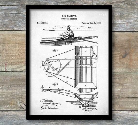 Patent Print Rowing Scull Oarlock Poster by NeueStudioArtPrints