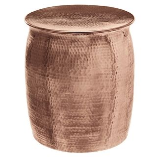 Horizon Plated Copper Hammered Rose Gold Aluminum Side Table Stool…