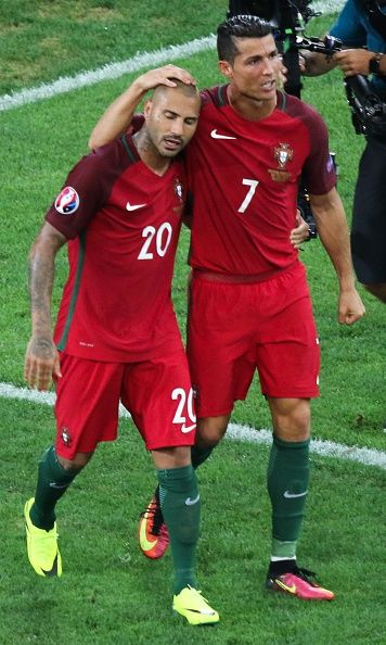 #EURO2016 Cristiano Ronaldo and Ricardo Querasma of Portugal celebrate after winning the Euro 2016 quarterfinal football match between Poland and Portugal at...