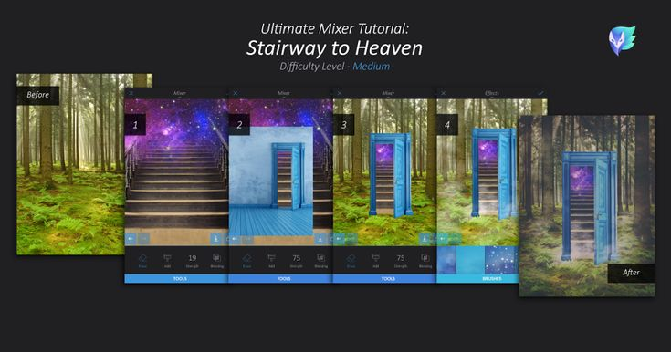Love mixer? Here's the ultimate Mixer tutorial for you: combine 4 different images to create a surrealistic stairway to heaven. Get started now! 1. Choose 4 photos: a forest, a galaxy/sky, stairs, and an open door. Start by mixing the stairs and the galaxy: select the galaxy > Tools > Mixer > add the stairs. …