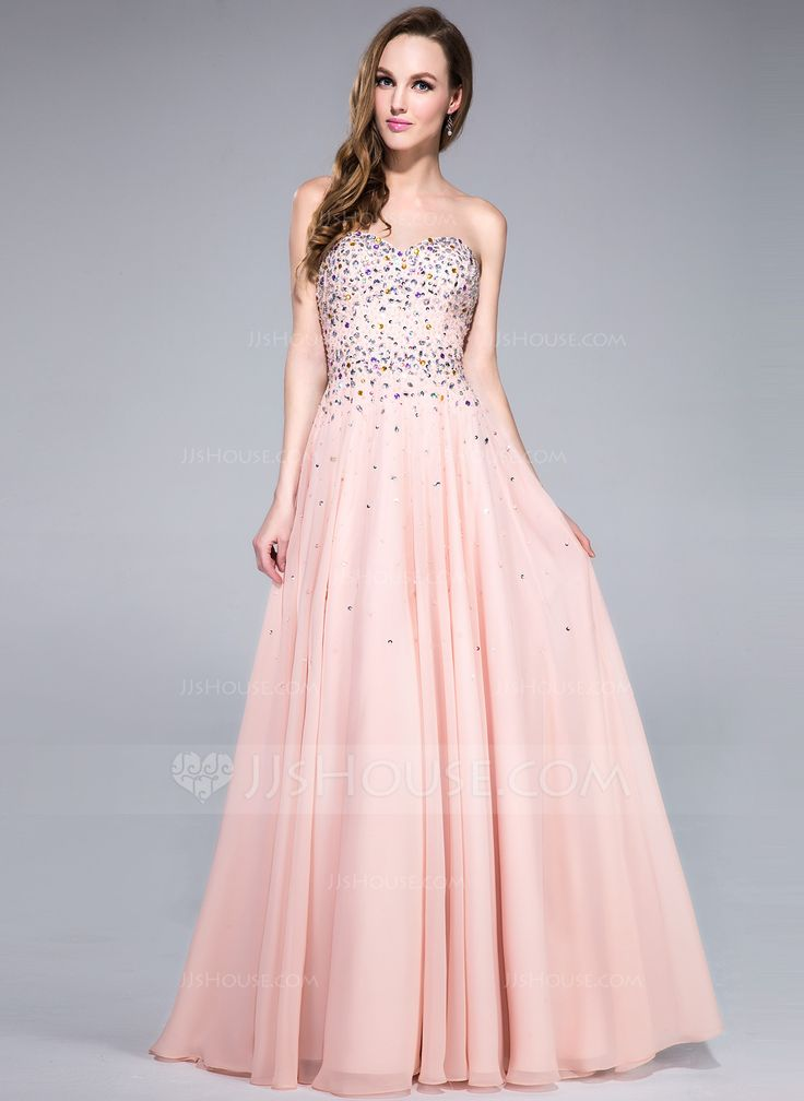 A-Line/Princess Sweetheart Floor-Length Chiffon Prom Dress With Beading Sequins (007040815) - JJsHouse