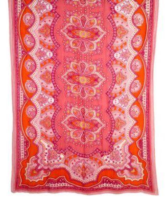 Pink Multi Formentera Tie All Scarf Theodora & Callum. $119.00