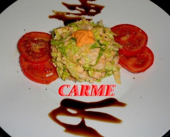 Timbal de merluza con salsa cocktail