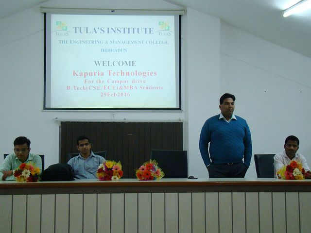 Tula's Institute Best Engineering College in Dehradun has Kapuria Technology placement drive in its campus. Campus driving briefing at Tula's Institute
