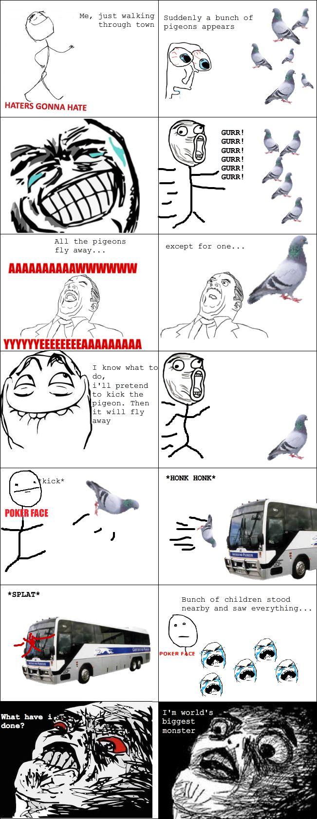 Le Pigeon Killer - View more rage comics at http://leragecomics.com