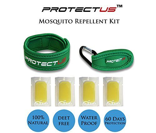 Mosquito Repellent Bracelet and Clip Kit by PROTECTUS Travel Insect All Types of Mosquitoes Ticks Biting Flies 100 DEET Free Natural Safe for Kids Pets and Family Green ** Check out the image by visiting the link.
