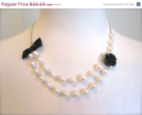 Year End Sale Black Rose Asymmetrical Pearls Necklace w Bow Old Hollywood Jewelry choker Elegant Classy Whimsical Wedding Jewelry Necklace