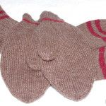 Cocoa (Brown) Socks & Mittens with Red Stripes