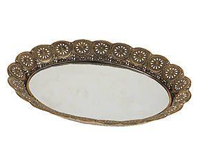 Vassoio in metallo e specchio Alba - 49x5x39 cm