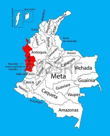 Mapa del vector de la región de Chocó, mapa editable del vector de Colombia. Divisiones administrativas del mapa editable de Colombia. Vectores