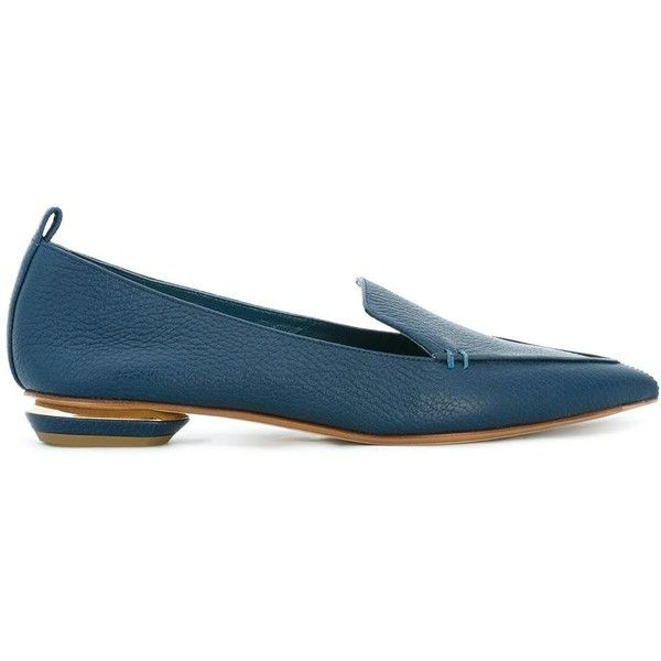 Nicholas Kirkwood 18mm Beya loafers (23.875 RUB) ❤ liked on Polyvore featuring shoes, loafers, blue, loafers moccasins, pointed toe loafers, pointy toe shoes, low heel shoes and blue loafers