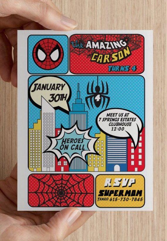 Invitación Spiderman Invitación de superhéroe por PinkArrowStudio