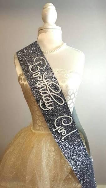 silver 21st birthday sash
