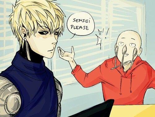 Genos, Saitama, spoons, text, funny; One Punch Man