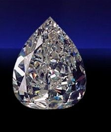 De Beers Millennium Star, a D-color, internally and externally flawless pear-shape, cut to perfect proportions, weighing a hefty 203.04 carats. It is the second largest faceted D-Flawless diamond in the world, the 273.15 carat Centenary Diamond is the first.