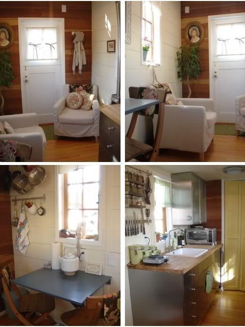 Fotos de una casa móvil diminuta amueblada, una vivienda sobre ruedas por dentro. Interior completamente equipado. Casa prefabricada en venta de madera.