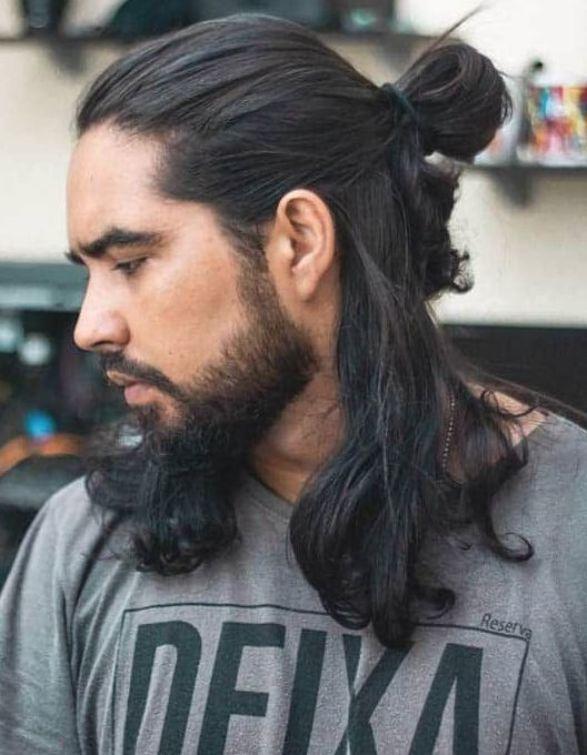 Half Bun And Long Hair Trendy Samurai Hairstyles Long Hair Styles Men Long Hair Styles Hair Styles