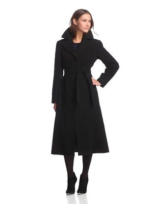 Ellen Tracy Women's Belted Maxi Coat with Double Collar