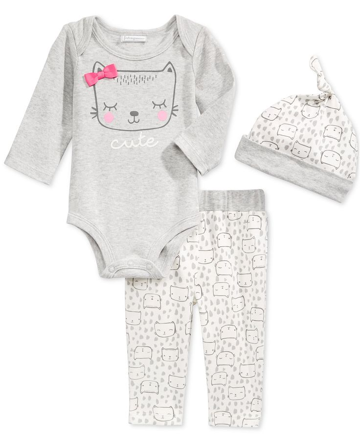 First Impressions 3-Pc. Cat Hat, Bodysuit & Pants Set, Baby Girls', Only at Macy's - First Impressions Baby Clothes - SLP - Macy's