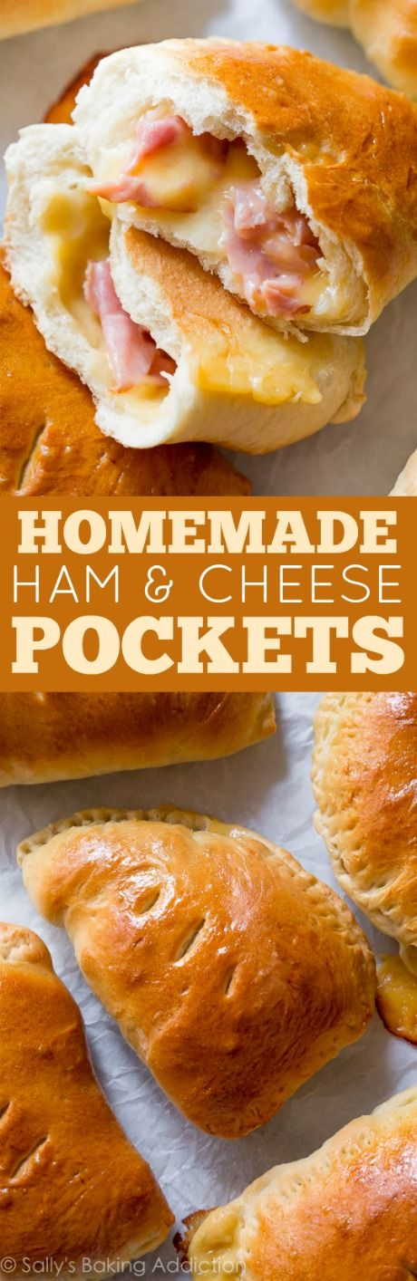 Make freezer-friendly homemade ham & cheese pockets with this easy recipe! Quick to reheat on the go! sallysbakingaddiction.com