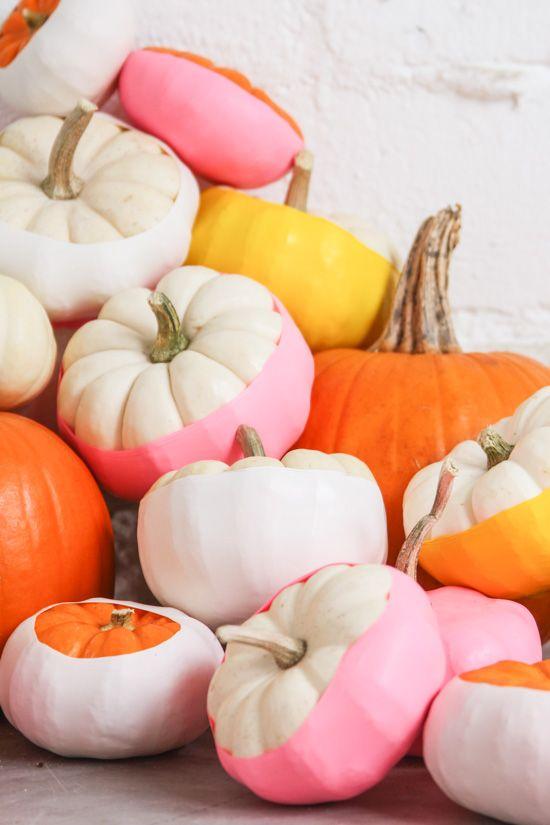 Balloon Dipped No-Carve Pumpkin Idea for Halloween