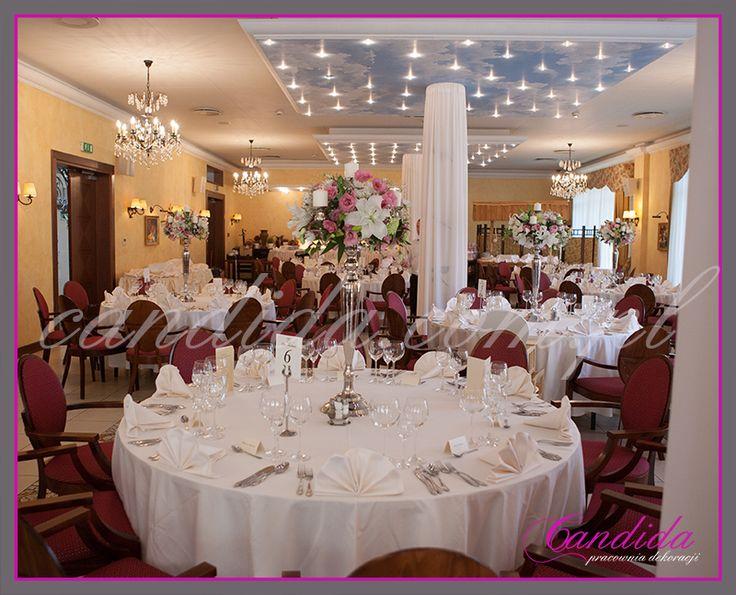dekoracje ślubne, dekoracja stołu weselnego, dekoracja sali weselnej, dekoracja ślubna w hotelu Pan Tadeusz
