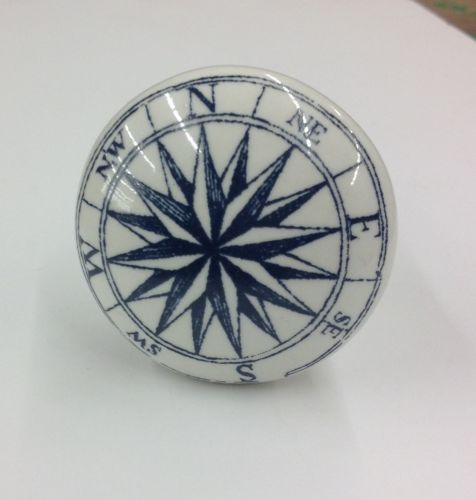 Compass Blue White French Countrry Nautical Map Ceramic Knobs Pulls   eBay