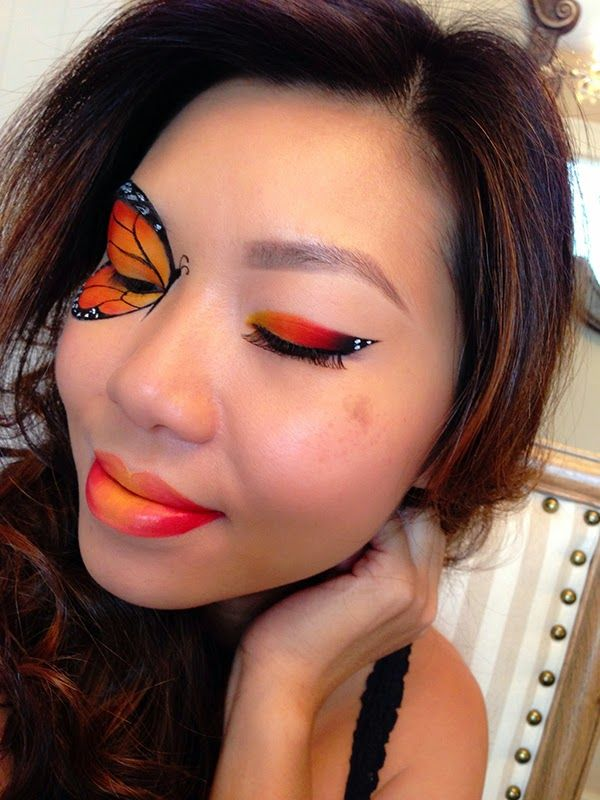 Monarch butterfly makeup. Ombre lipstick.