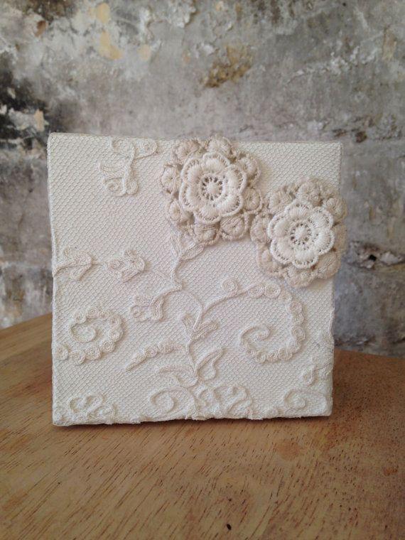 White cottage chic rustic lace storage box. by EnchantedLaceDecor