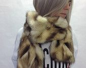 Real gold fur scarf, collar pelt, shawl, chunky wrap fur pelt.