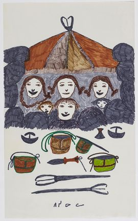 Pitseolak Ashoona, Untitled, c. 1966–76, coloured felt-tip pen on paper, 35.5 x 21.6 cm, Collection of the West Baffin Eskimo Co-operative Ltd., on loan to the McMichael Canadian Art Collection, Kleinburg, Ontario. In this scene of summer camping, Pitseolak places a family in a fishing weir, with fishing spears, skin pails, and other tools in the foreground