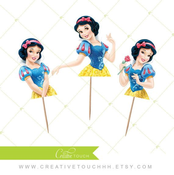 Snow White Cupcake Toppers Princess Snow White by CreativeTouchhh