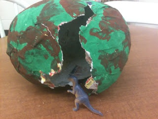 "Exciting way to introduce dinosaur unit: she planted a paper-mache egg in the room, got the kids all curious, and then later they noticed a crack... it was hatching! There was a lot of excited talk about dinosaurs until one student finally asked, ""Can we learn about dinosaurs?"" ...brilliant!"