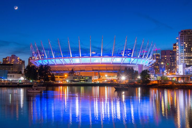 BC Place, home of the Lions, shot at night from Olympic Village #blurrdMEDIA #photography #architecture