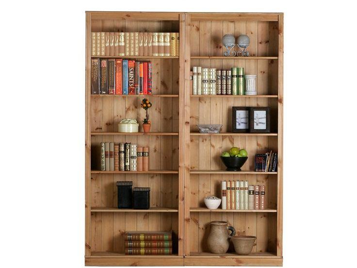 Rustikales Bücherregal, bestehend aus zwei einzelnen  Landhaus Bücherregalen in gebeizt geölt, mit jeweils fünf  Einlegeböden, alles aus FSC zertifiziertem Holz.  Die sehr schöne Bücherwand im Landhausstil können Sie als Bibliotheksregale z. B. als komplette Bücherwand verwenden oder Sie können die Bücherregale auch einzeln stellen.  In Ihrem Wohnzimmer  finden diese geschmackvollen Landhausregale sicherlich einen geeigneten Platz.