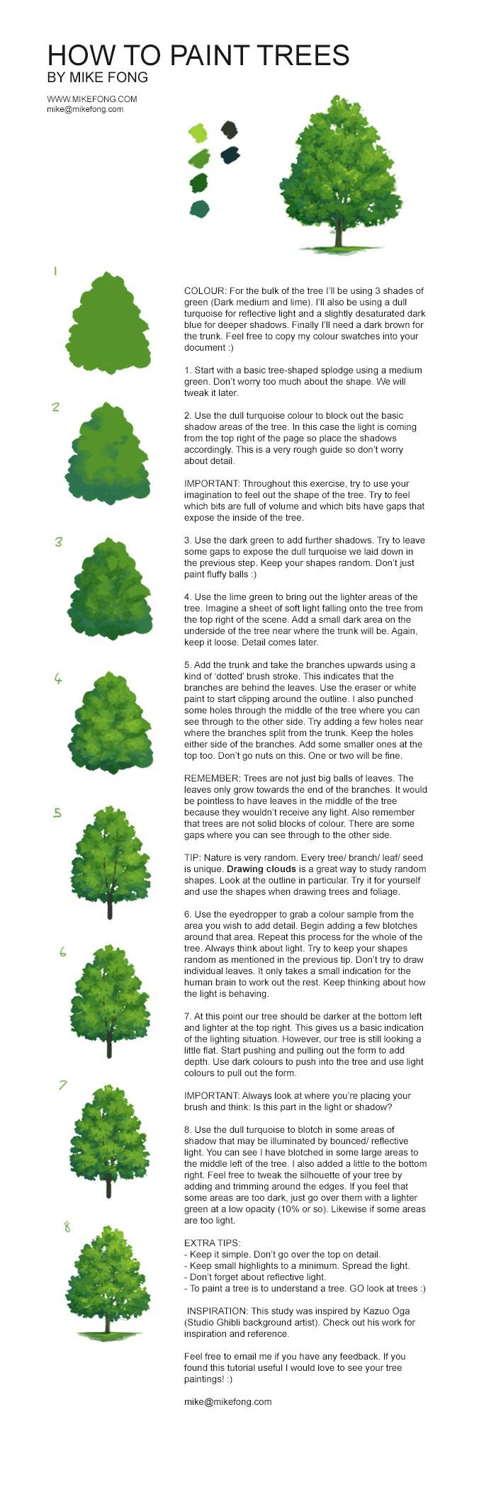 HOW TO PAINT TREES  BY MIKE FONG ... TAGS: Tree, Painting, Tutorial, digital painting, concept, art, tips, foliage