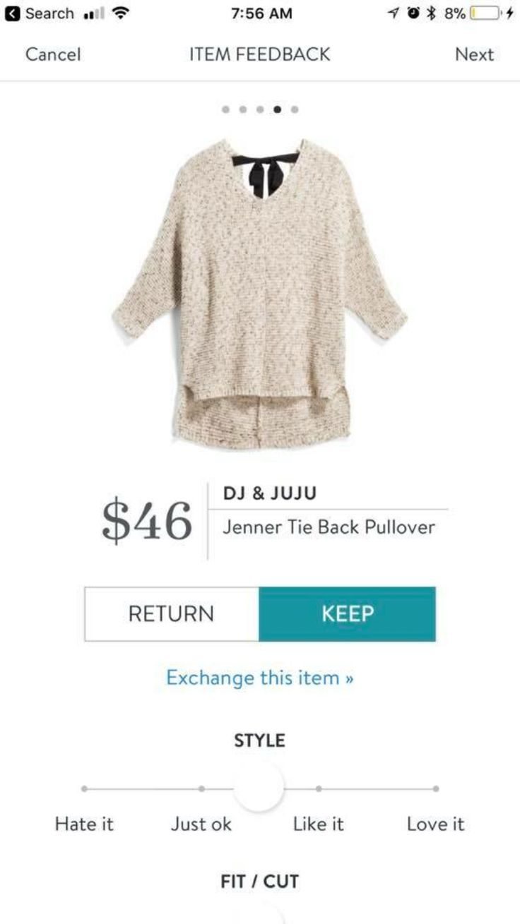 Stitch Fix Stylist: I like that this is cozy, and basic/neutral but with the little feminine element of the ribbon to set it apart. Would pair with skinny jeans and my favorite booties (black suede w fringe) MK