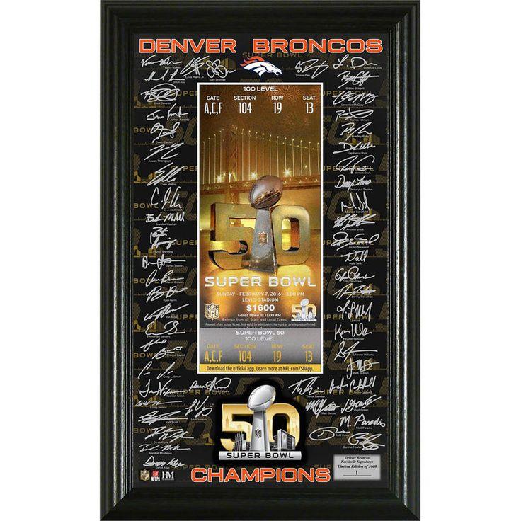 Denver Broncos Highland Mint Super Bowl 50 Champions Signature Ticket