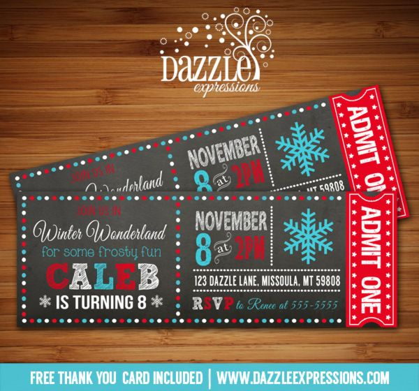 Printable Chalkboard Winter Wonderland Ticket Birthday Invitation | Snowflake | Red and Aqua Blue | ONEderland | Boy Winter Party Idea | Digital File | Ice Skating | FREE thank you card | Party Package Available |  Banner | Cupcake Toppers | Favor Tag | Food and Drink Labels | Signs |  Candy Bar Wrapper | www.dazzleexpressions.com