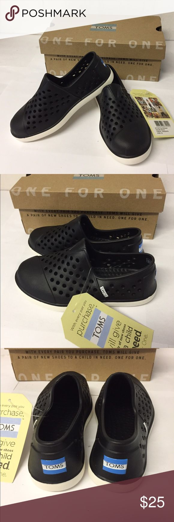 TOMS Romper Black sz 10 New in Box Unisex Boy/Girl Brand new excellent clean condition in original box.  Rubber Slip on.  Easy to clean Toms Shoes