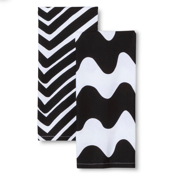 Kitchen Towels 2 Count - Traktori & Lokki Print - Black - Marimekko for Target